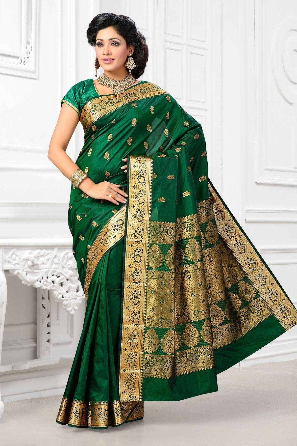 055f10b97d shopandproduct.com:Art silk green gorgeous saree with bottle green ...