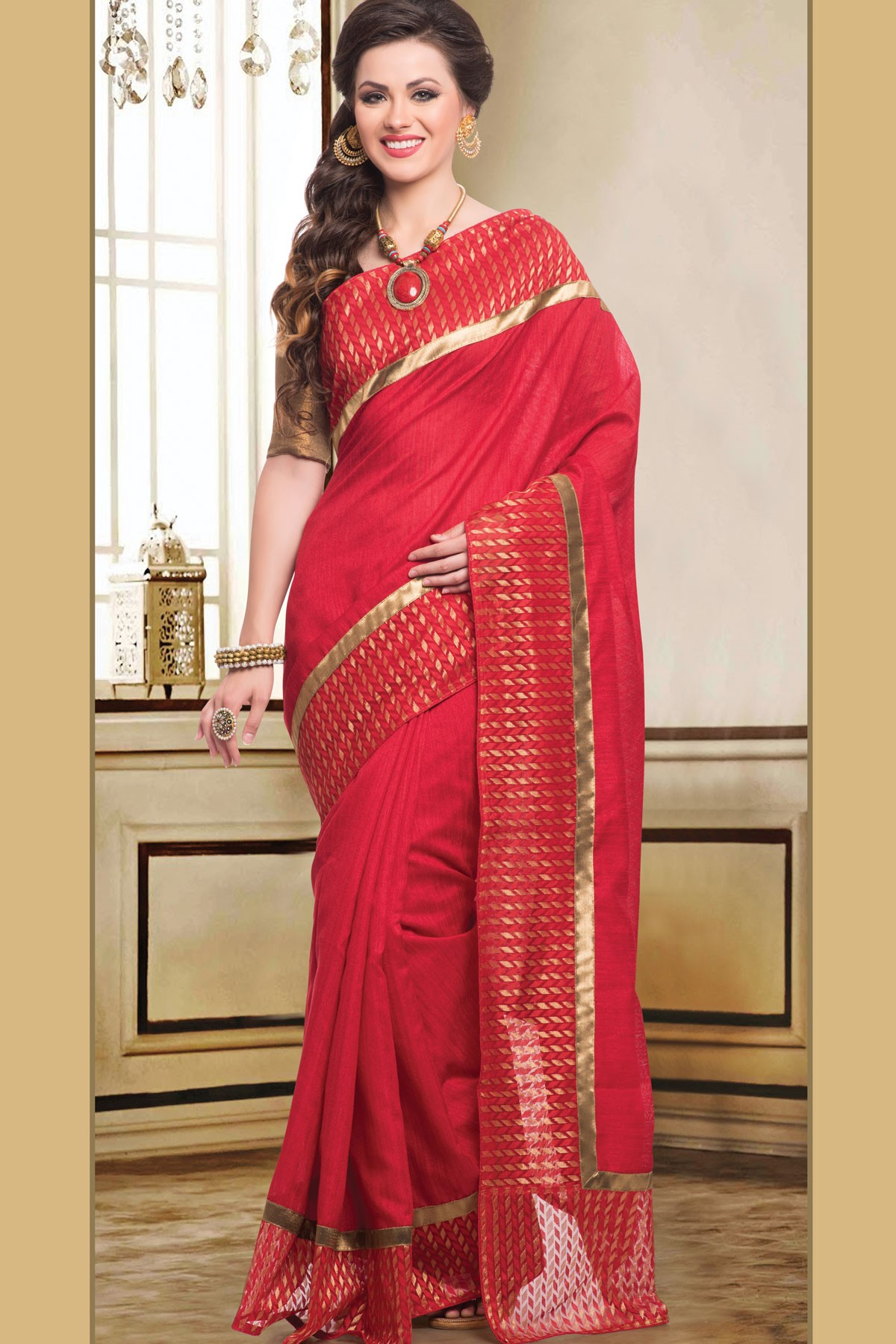 shopandproduct.com:Bright red ethereal blended saree with ...
